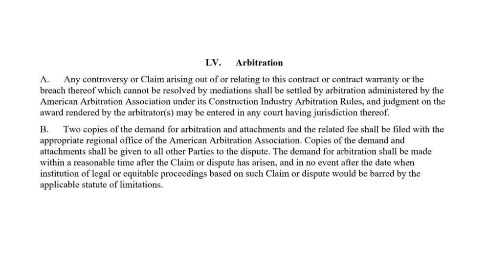 Arbitration Clauses Residential Contract Arbitration Clause Found